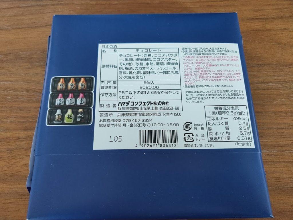 日本の酒チョコレートのパッケージ裏