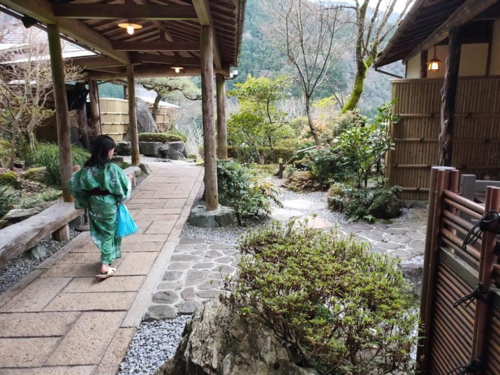 新祖谷温泉ホテルかずら橋の露天風呂に到着