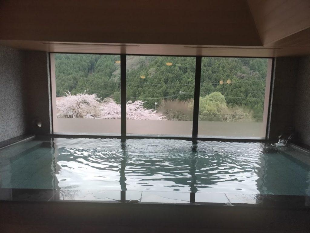 新祖谷温泉ホテルかずら橋の内風呂と桜