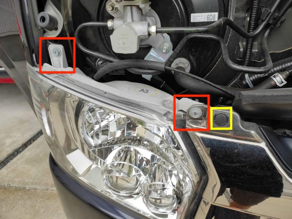 ハイエースポジションランプ、ヘッドライトのネジ位置運転席