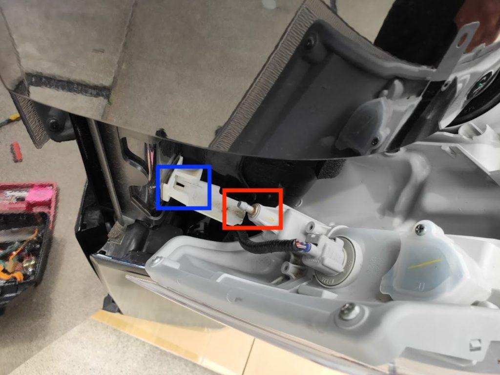 ハイエースポジションランプ、ヘッドライトの重要なピン位置