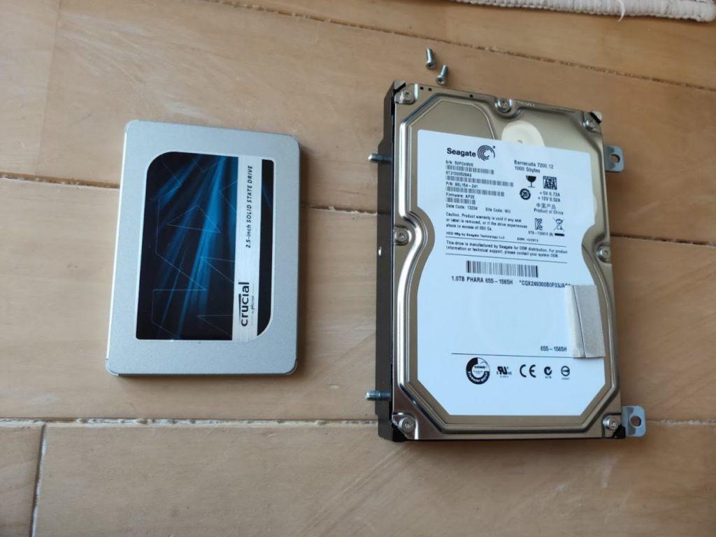 マイimacのHDD交換SSDとHDDのサイズ
