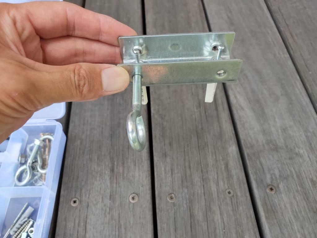 家庭用タープ取付2箇所目の設置金具選定2
