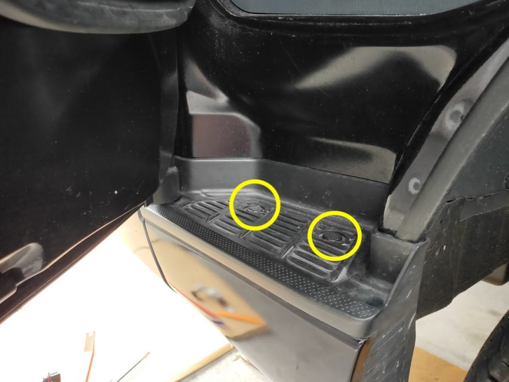 ハイエースポジションランプの外すクリップ台座上側