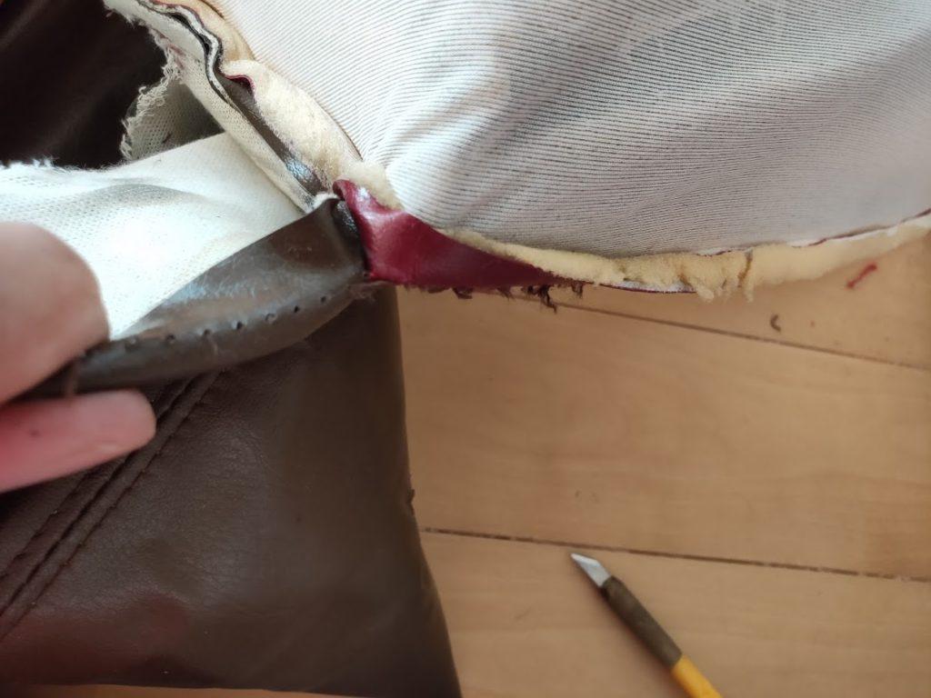117クーペの古いシートカバー裁断方法