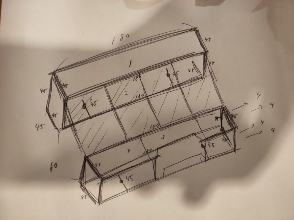 ハイエースのベッドキットDIYの理想図