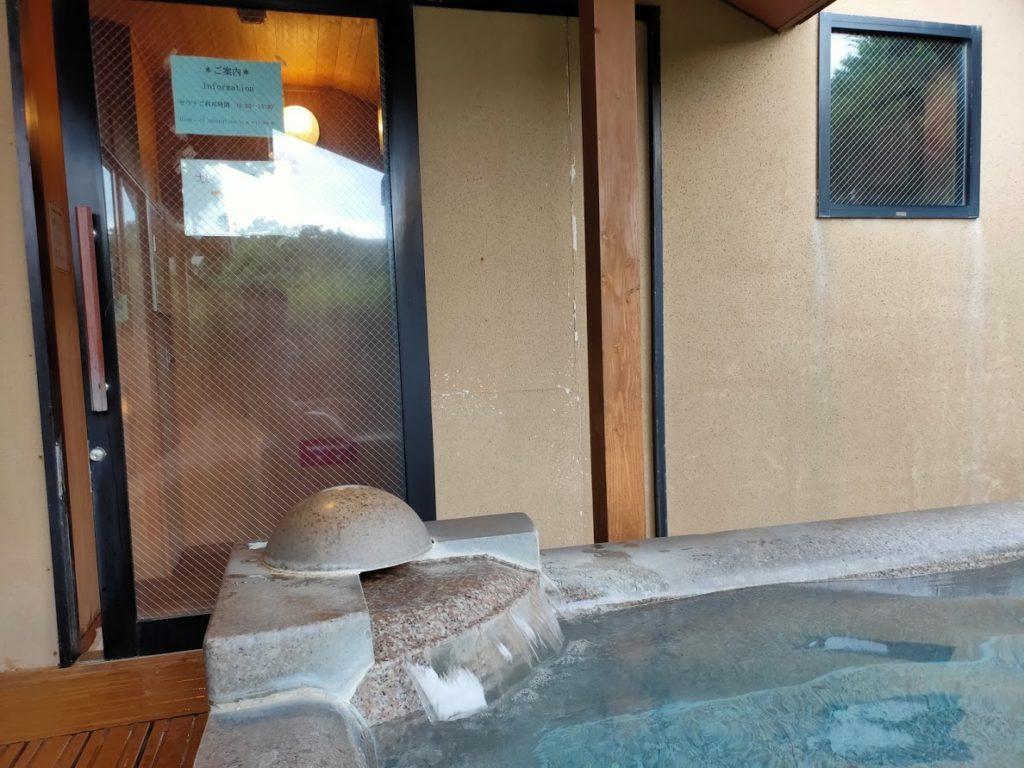皆生温泉白扇の露天風呂サウナ入り口