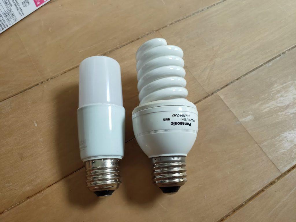 アイリスオオヤマLED電球と蛍光灯比較