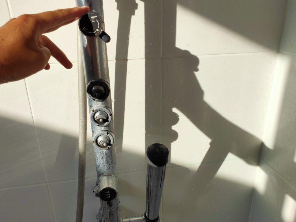 シャワーの止水栓の停止確認