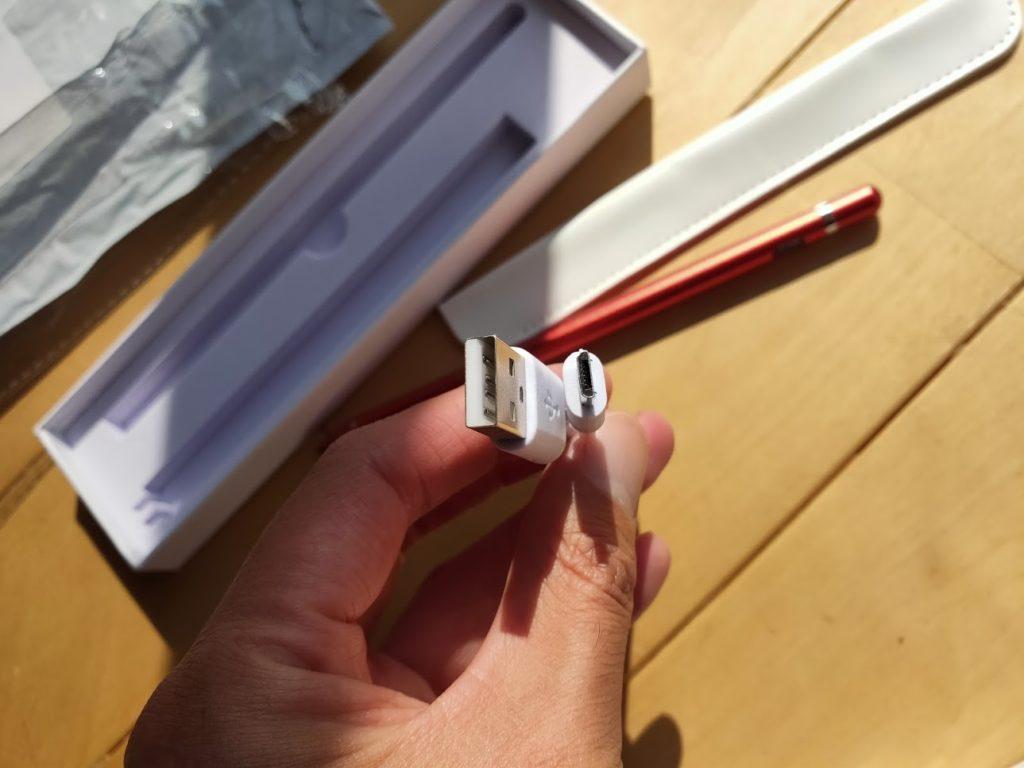 ipadペンの電源ケーブル