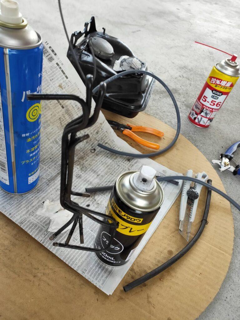 モトコンポガソリンタンクホース塗装1