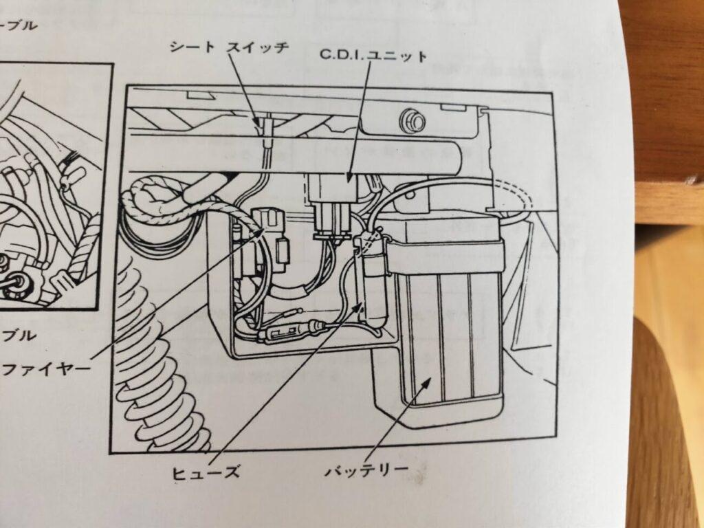 モトコンポの配線図のリア側面